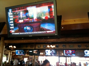 One of 8 Hi-Def big screens at the bar